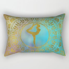 Yoga Asana Symbol in Gold Mandala Rectangular Pillow
