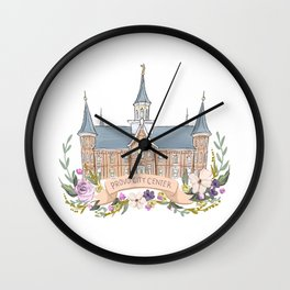 Provo City Center LDS watercolor Temple with flower wreath  Wall Clock