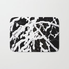 Snowy Branches On Black Background #decor #society6 Bath Mat