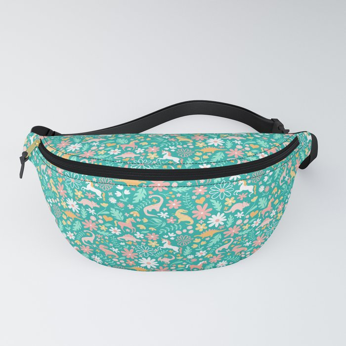 Dinosaurs + Unicorns on Teal Fanny Pack