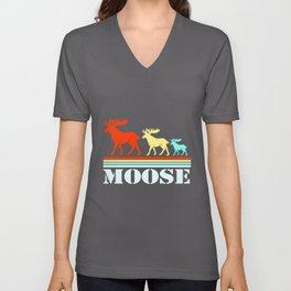 Moose Retro Squad Team Family Deer Elk Reindeer Unisex V-Neck