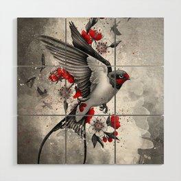 swallows and sakuras Wood Wall Art