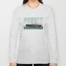 Vintage SS Great Eastern Steamboat Painting (1858) Long Sleeve T-shirt