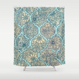 Moroccan Floral Lattice Arrangement - aqua / teal Shower Curtain
