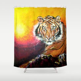 Awaiting the Darkness of Night (Male Tiger) Shower Curtain