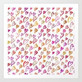 Colourful hearts seamless pattern Art Print