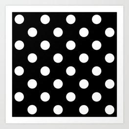 Polkadot (White & Black Pattern) Art Print
