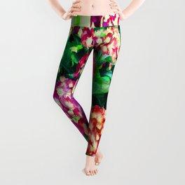 Garden Hydrangea - Raspberry Pink and Lavender Leggings