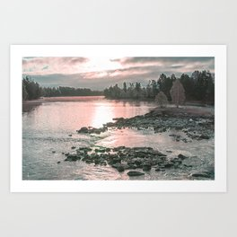 Landscape with river, rocks, trees, sky, clouds, reflections and sunlight Art Print