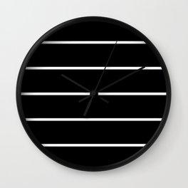 Black White Pinstripes Wall Clock