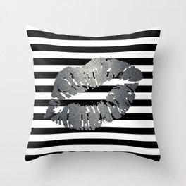 Metallic Kiss - Silver Throw Pillow