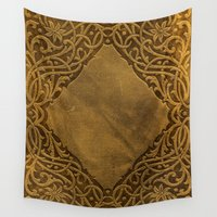 book cover Wall Tapestries featuring Vintage Ornamental Book Cover by Nicolas Raymond
