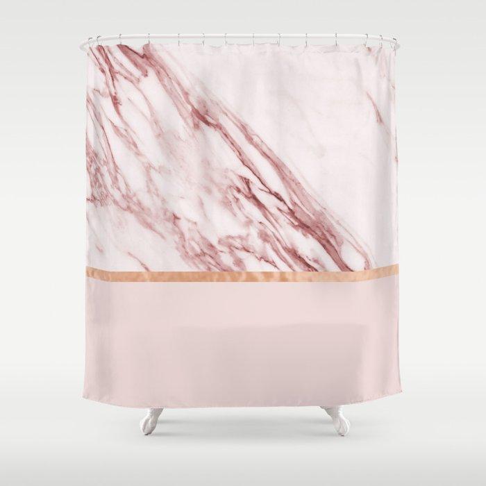 Alabaster Rosa Rose Gold On Blush Shower Curtain