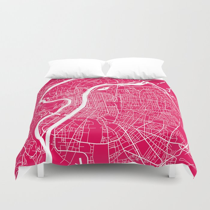 Rome map raspberry Duvet Cover