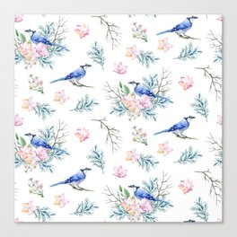 Chic Watercolour Blue Jay Spring Flowers Canvas Print