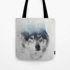 Grey Wolf In Fog Tote Bag