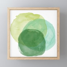 Abstract Organic Watercolor Shapes Painting in Green Framed Mini Art Print