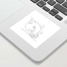 Wild Pig Head Continuous Line Sticker