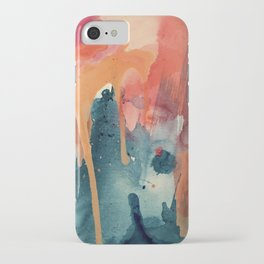 Pour Some Sugar on Me: a colorful mixed media abstract in pinks blues orange and purple iPhone Case