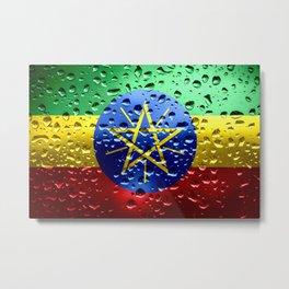 Flag of Ethiopia - Raindrops Metal Print