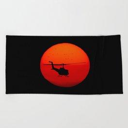 Vietnam Helicopter Sunset Beach Towel