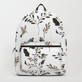 Bluebells and Bluebirds Floral Pattern Flowers in Blue and Bark Brown Backpack