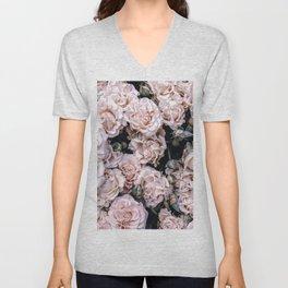 Rustic country botanical blush pink green roses floral Unisex V-Neck