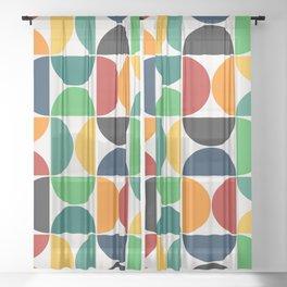 Modern Geometric Seamless Pattern Mid Century XII Sheer Curtain