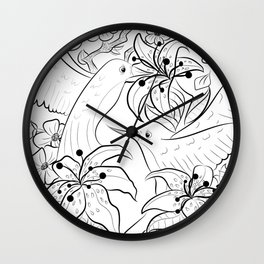 Birds and Lilies Wall Clock