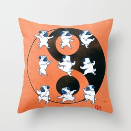 Pug Tai Chi Moves Throw Pillow