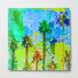 green palm tree with blue yellow green painting abstract background Metal Print