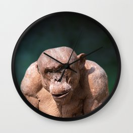 Jambo The Hairless Alpha Male Chimp green Wall Clock