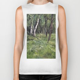 Woodland Forest Landscape Nature Art Biker Tank