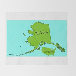 Alaska and the Lower 48 Forty-eight Throw Blanket