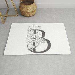 Monogram Letter B Floral Rug