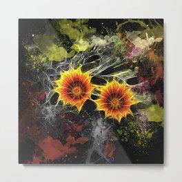 Glowing yellow daisies on black Metal Print