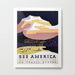 See America Montana travel ad Metal Print