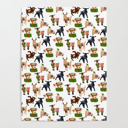 Christmas goats in sweaters repeating seamless pattern Poster