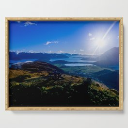 lake wanaka covered in blue colors new zealand beauties and mountains at sunrise Serving Tray