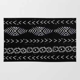 Mudcloth linocut design original black and white minimal inky texture pattern Rug