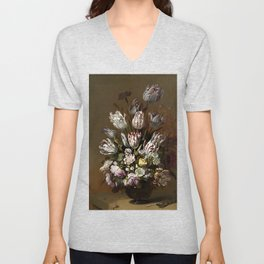 Tulips in a Vase -Hans Bollongier Unisex V-Neck