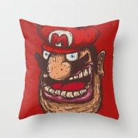 super mario Throw Pillows featuring Mario by Lime