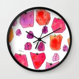 """Berry Happy!"" Strawberry Raspberry Illustration Fruits Pattern Kitchen Decor Food Wall Clock"