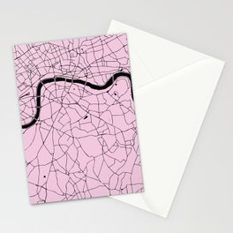 London Pink on Black Street Map Stationery Cards