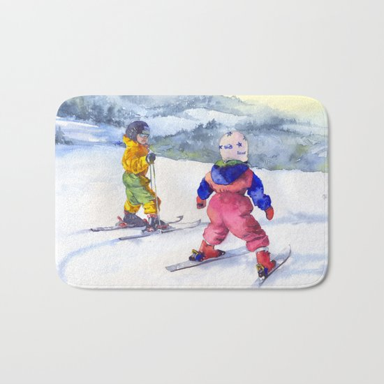 Watercolor skiing, skiers kids Bath Mat