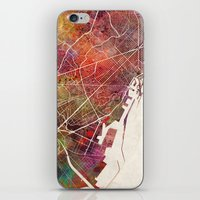 barcelona iPhone & iPod Skins featuring Barcelona by MapMapMaps.Watercolors
