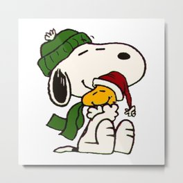 Snoopy And Woodstock Embracing Christmas Metal Print
