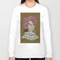 fairy tail Long Sleeve T-shirts featuring Natsu - Fairy Tail by Kelly Katastrophe
