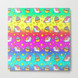 Cute colorful magical baby unicorns and sweet yummy cupcakes and bright golden stars colorful rainbow fantasy pattern design. Nursery decor. Funny gifts for unicorn lovers. Metal Print