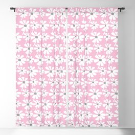 Daisies In The Summer Breeze - Pink Grey White Blackout Curtain